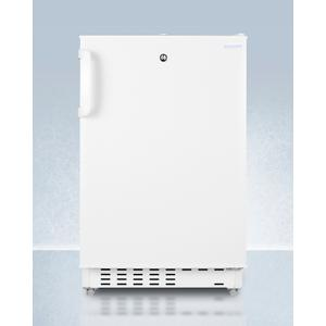 SummitBuilt-in Undercounter, ADA Compliant Refrigerator-freezer In White, Designed for General Purpose Storage, Manual Defrost With Glass Shelves, Front Lock, and Door Storage