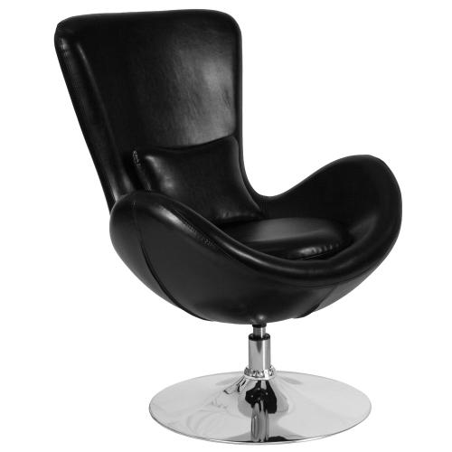 Black Leather Side Reception Chair