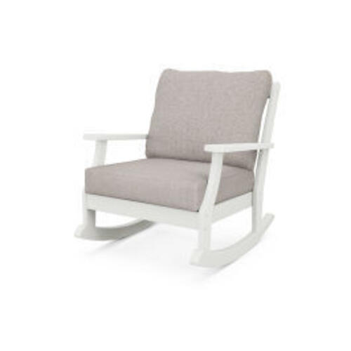 Braxton Deep Seating Rocking Chair in Vintage White / Weathered Tweed