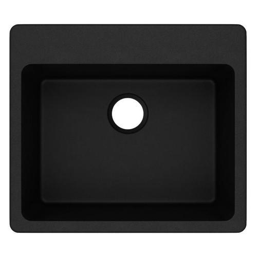 """Elkay Quartz Classic 25"""" x 22"""" x 9-1/2"""", Single Bowl Drop-in Sink, Black"""