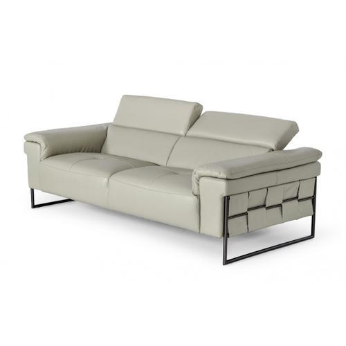 Divani Casa Shoden - Modern Light Grey Leather Loveseat