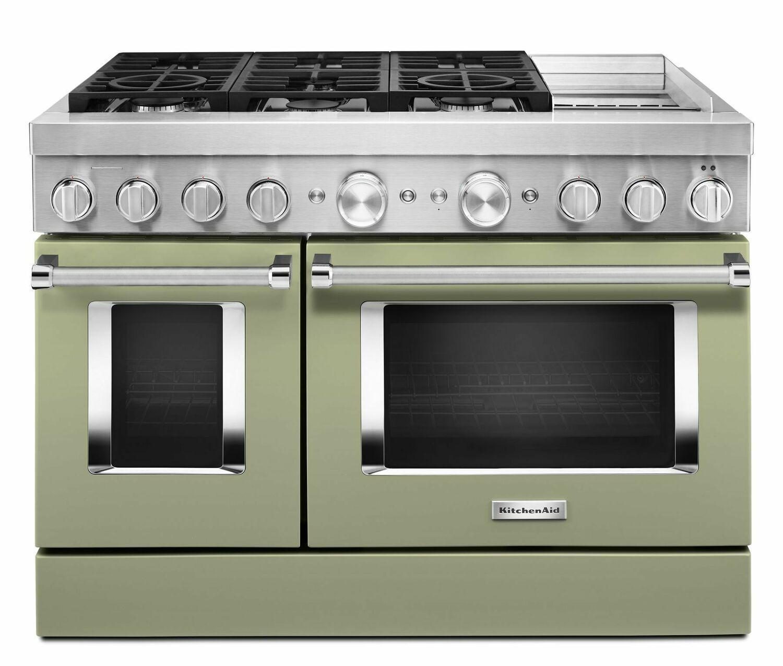 KitchenaidKitchenaid® 48'' Smart Commercial-Style Dual Fuel Range With Griddle - Avocado Cream