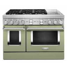 See Details - KitchenAid® 48'' Smart Commercial-Style Dual Fuel Range with Griddle - Avocado Cream