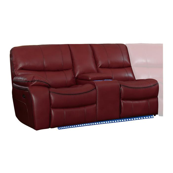 Power Left Side Reclining Love Seat with Center Console, LED and USB Port
