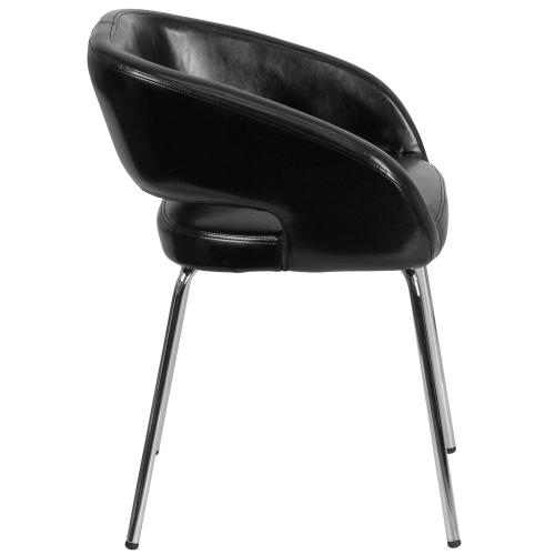 Contemporary Black Leather Side Reception Chair