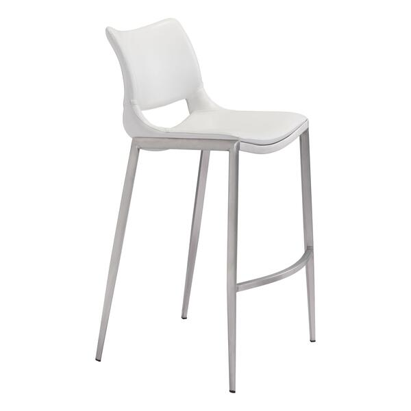 See Details - Ace Bar Chair White & Silver