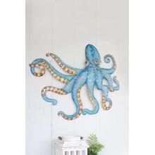 See Details - hand hammered recycled metal octopus wall hanging