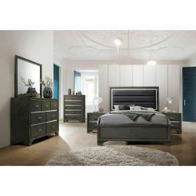 ACME Carine II Eastern King Bed - 26257EK - Fabric & Gray