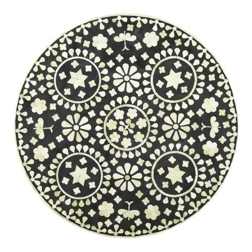 This table is fit for a Moroccan princess, for your favorite powder room, guest room or relaxing corner! This White Bone inlay accent table has a beautifully intricate design with graceful round shape and hand inlay craftsmanship on aprons, uprights, shel