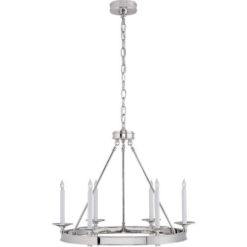 Visual Comfort - E. F. Chapman Launceton 6 Light 27 inch Polished Nickel Chandelier Ceiling Light, Small Ring