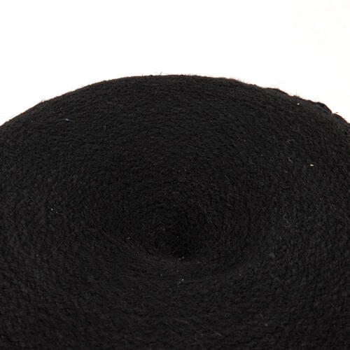 Jute Braided Pouf-black Jute