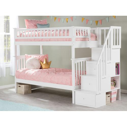 Atlantic Furniture - Columbia Staircase Bunk Bed Twin over Twin in White