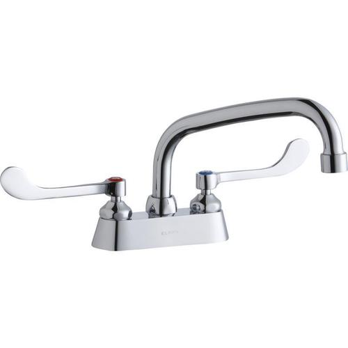 "Elkay 4"" Centerset with Exposed Deck Faucet with 8"" Arc Tube Spout 6"" Wristblade Handles"