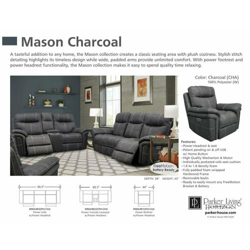 Parker House - MASON - CHARCOAL Power Reclining Collection
