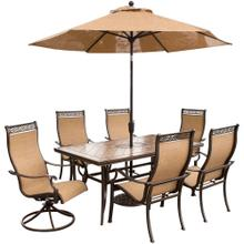 Monaco 7 Pc. Dining Set with Umbrella- Two Swivel Chairs, Four Dining Chairs, and a 40 x 68 in. Table with Umbrella