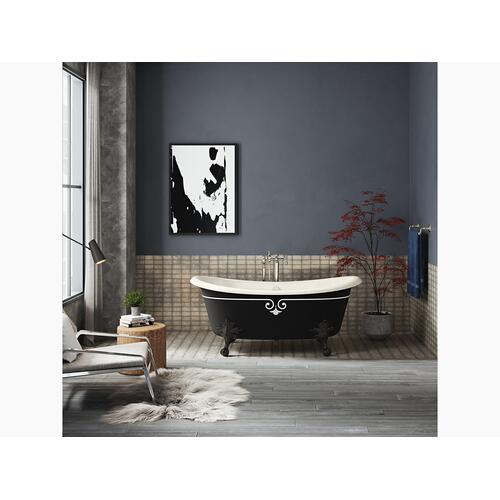 "Black Black 66"" X 33"" Freestanding Bath With Iron Black Exterior and Decorative Border"