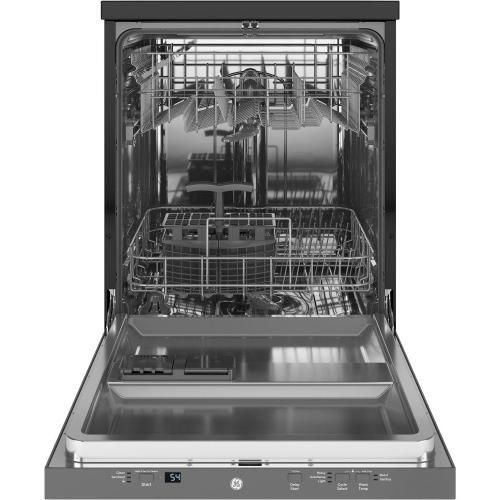 "GE 24"" Stainless Steel Interior Portable Dishwasher with Sanitize Cycle"