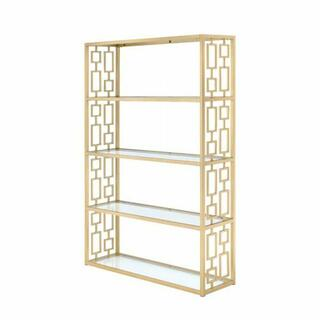 ACME Blanrio Bookshelf - 92465 - Gold & Clear Glass