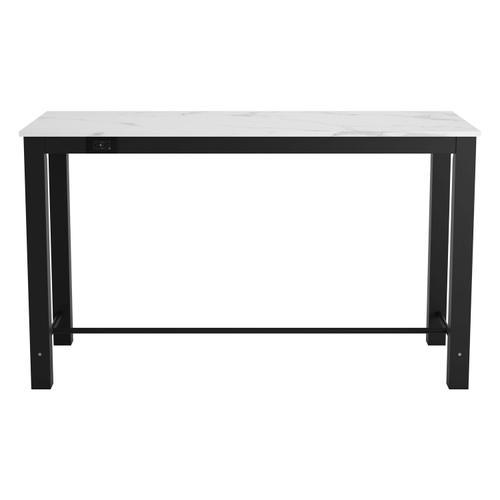 Zuo Modern - Dawson Faux Marble Bar Table White & Matte Black