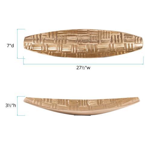 Howard Elliott - Textured Aluminum Elongated Gold Bowl, Small