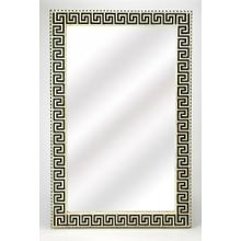This magnificent wall mirror features a sophisticated artistry and consummate craftsmanship. The Greek key pattern covering the frame is created from bone inlay cut and individually applied by the hands of a skillful artisan. No two mirrors are alike, ens