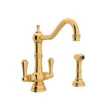 Edwardian Single Hole Kitchen Faucet with Lever Handles and Sidespray - English Gold with Metal Lever Handle