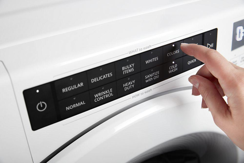 Wfw5620hwwhirlpool 4 5 Cu Ft Closet Depth Front Load Washer With Load Go Dispenser White Queen City Audio Video Appliances