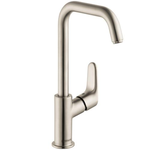 Brushed Nickel Single-Hole Faucet 240 with Swivel Spout and Pop-Up Drain, 1.2 GPM