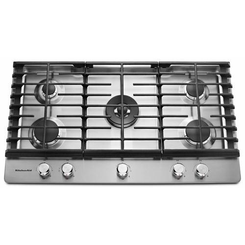 "KitchenAid - 36"" 5-Burner Gas Cooktop - Stainless Steel"