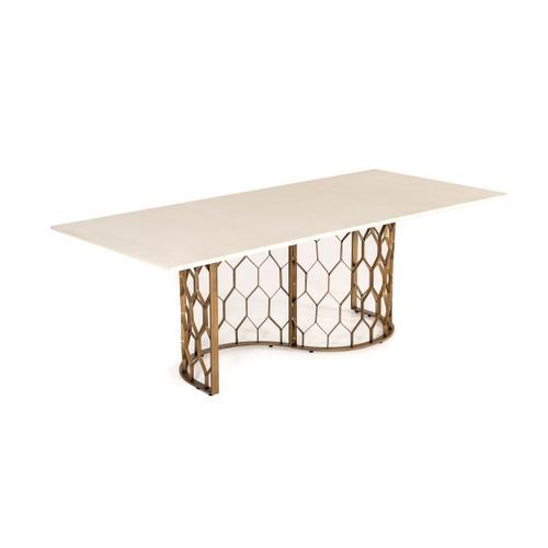 VIG Furniture - Modrest Faye Modern White Concrete & Antique Brass Dining Table
