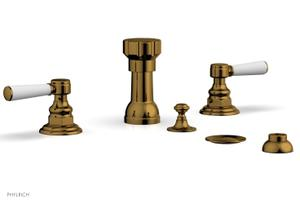 HENRI Four Hole Bidet Set - Satin White Lever Handles 161-62 - French Brass Product Image