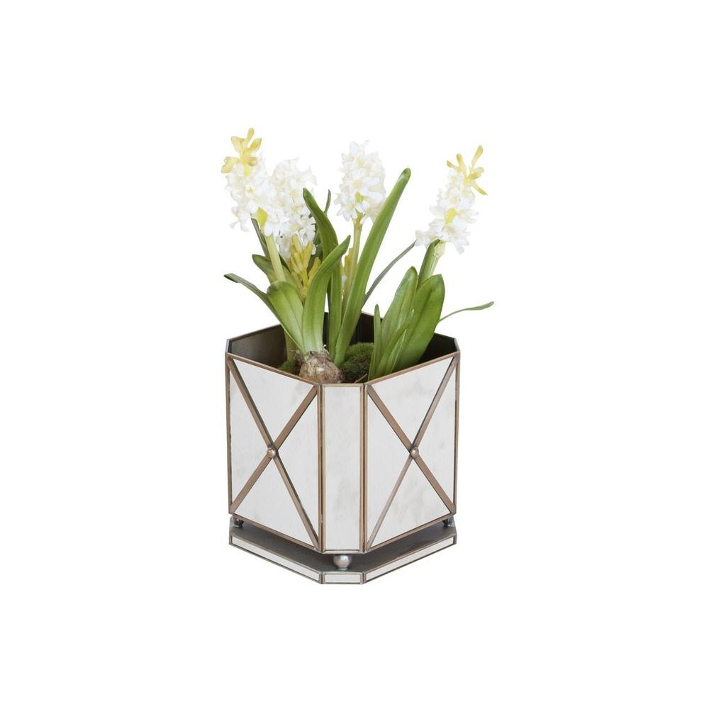 Bring A Touch of French Provencial Living To Your Indoor or Outdoor Garden Room. This Regency Style Square Planter Perched Atop Ball Feet And Finished With A Crosshatched Pattern and Antique Mirrors.