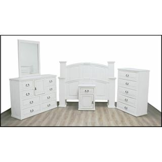 See Details - Weathered White Mansion Bed W/ Econo Case Goods