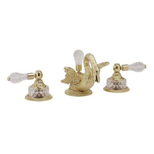 SWAN Widespread Faucet Cut Crystal Lever Handles K183 - Polished Gold