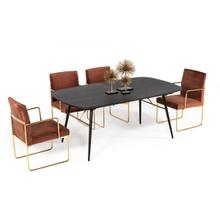 View Product - Modrest Billy Modern Black Oak & Gold Extendable Dining Table