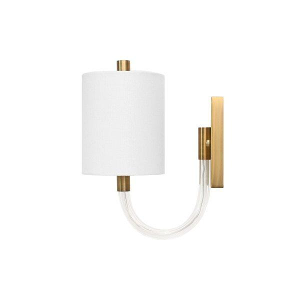 Wall Sconce With Acrylic Neck and White Linen Shade In Antique Brass - Uses (1) E12 40 Watt Candelabra Bulbs