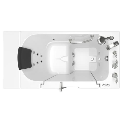 Gelcoat Premium Series 30x52 Inch Walk-in Tub with Whirlpool System and Outward Opening Door, Right Drain  American Standard - White