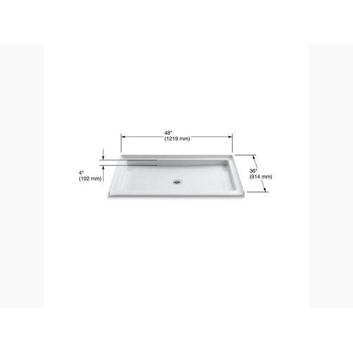 "White 48"" X 36"" Single Threshold Center Drain Shower Base"
