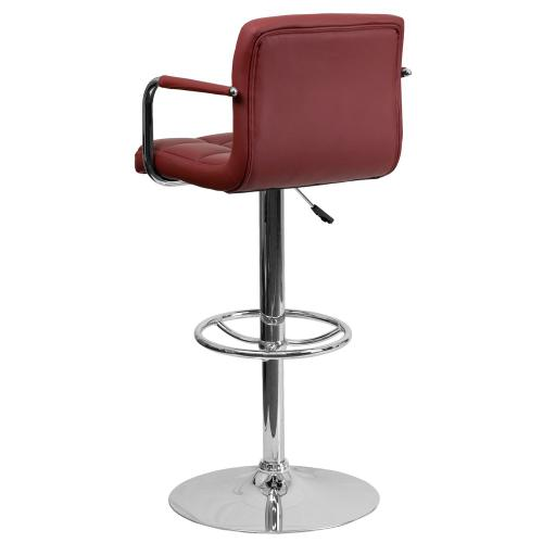 Contemporary Burgundy Quilted Vinyl Adjustable Height Barstool with Arms and Chrome Base