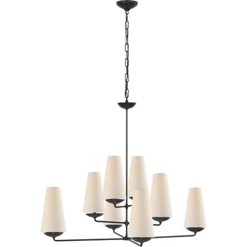 AERIN Fontaine 8 Light 39 inch Aged Iron Offset Chandelier Ceiling Light, Large
