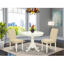 3Pc Round 36 Inch Dinette Table And Two Parson Chair With Linen White Leg And Linen Fabric Light Beige