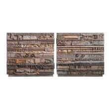 "See Details - 34""L x 17""D x 32""H Reclaimed Wood Carvings Cabinet w/ 2 Doors, 1 Shelf & Metal Handles"