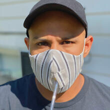 Happy Hour Reusable Face Mask in Kenzie Linen Stripe