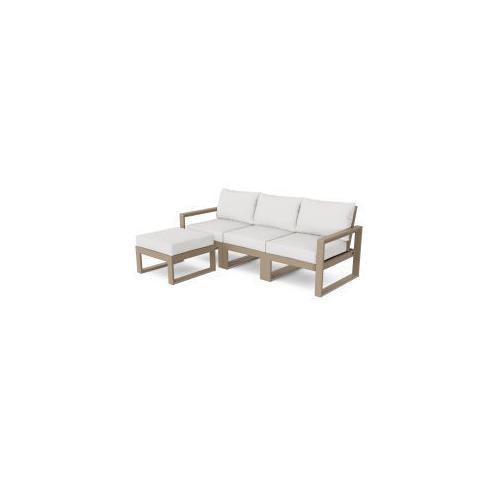 Polywood Furnishings - EDGE 4-Piece Modular Deep Seating Set with Ottoman in Vintage Sahara / Natural Linen
