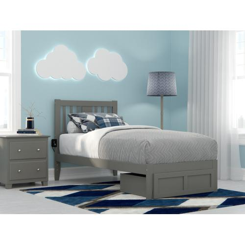 Atlantic Furniture - Tahoe Twin Bed with Foot Drawer and USB Turbo Charger in Grey
