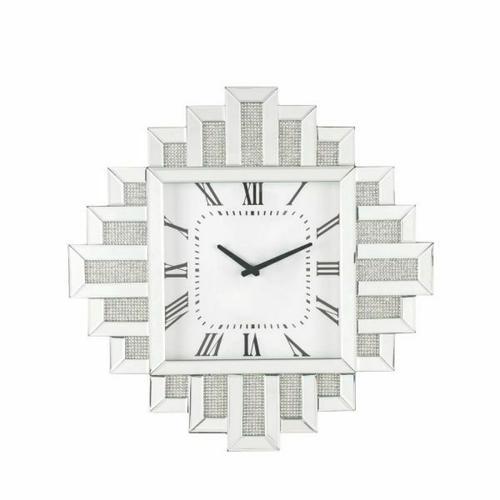 ACME Lavina Wall Clock - 97729 - Glam - Mirror, Glass, MDF, Faux Diamonds (Acrylic) - Mirrored and Faux Diamonds