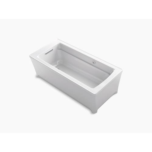 """Almond 68"""" X 32"""" Freestanding Heated Bubblemassage Air Bath"""