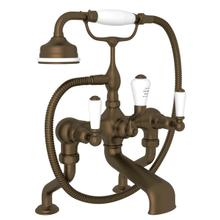 Edwardian Exposed Deck Mount Tub Filler with Handshower - English Bronze with Metal Lever Handle