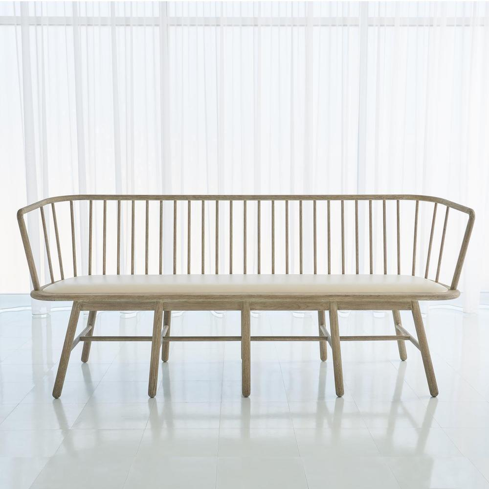 See Details - Spindle Long Bench-Beige Leather