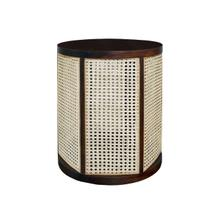 Natural Woven Cane Panels Sit Delicately Inside A Durable Acacia Wood Frame In the Freya Side Table - A Versatile Accent Piece Designed To Complement the Style of Any Room.